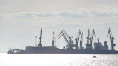 Industrial port at sunset Stock Footage