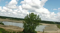 Reclaimed gravel pit viewed from the air - stock footage