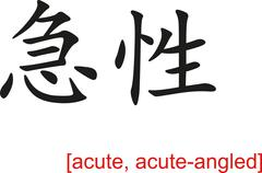Stock Illustration of Chinese Sign for acute, acute-angled