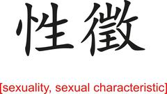 Chinese Sign for sexuality, sexual characteristic - stock illustration