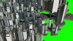 Expanding city on puzzle pieces. Chroma key. Stock Footage