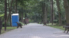 Empty alley in park, bench on both edges, concrete pavement meeting green nature Stock Footage