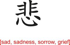 Chinese Sign for sad, sadness, sorrow, grief - stock illustration