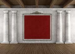 classic interior with columns - stock illustration