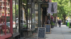 Brooklyn Storefronts. Atlantic Avenue in Brooklyn. Cobble Hill/Brooklyn Heights Stock Footage