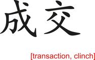 Stock Illustration of Chinese Sign for transaction, clinch