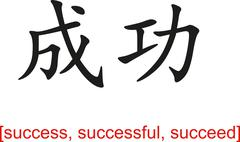 Chinese Sign for success, successful, succeed - stock illustration
