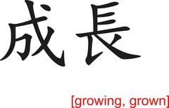 Chinese Sign for growing, grown - stock illustration