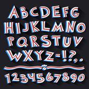 Cartoon Retro 3D Font with Strips on Black Background - stock illustration