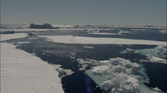 Icebergs and broken sea ice on Weddell Sea - stock footage