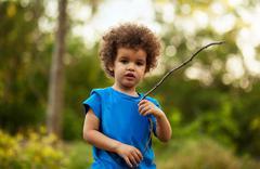 Afro American boy, outdoor Stock Photos