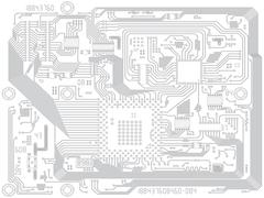 Circuit board computer drawing - electronic motherboard Stock Illustration