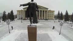 Monument of S.M.Kirov and christmas tree near Palace Stock Footage