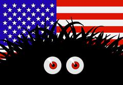 Stock Illustration of unknown threat to the united states of america - comic illustration