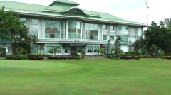 South Eeast Asia Brunei Bandar Seri Begawan main building and lawn in polo club Stock Footage