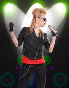 Stock Illustration of rock girl singer