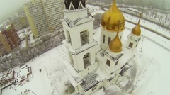 Belltower and cupolas of Cathedral Apostles Cyril and Methodius - stock footage