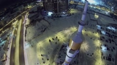 Traffic near monument of rocket Soyuz on square Stock Footage