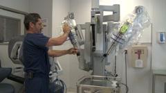 Surgeon Set up DaVinci Stock Footage