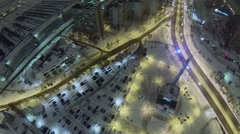 Cityscape with monument of rocket Soyuz and car traffic Stock Footage