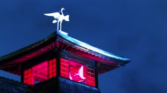 Time lapse of Dogo Hotspring's legendary heron on top of the bath house Stock Footage