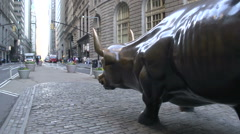 Side from the Charging Bull at wall street in Manhattan, New York City, USA Stock Footage