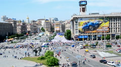 Opposition meeting during Europe Day celebration in Kiev, Ukraine. Stock Footage