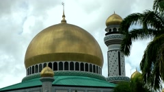 South Eeast Asia Borneo Island sultanate Brunei 012 mosque dome close up Stock Footage