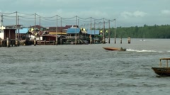 South Eeast Asia Brunei Bandar Seri Begawan structure on stilts in water village Stock Footage