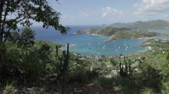 View over English Harbour, St Paul, Antigua and Barbuda, Caribbean Stock Footage