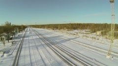 Tracks of White Stone Moscow Belt Railroad among forest Stock Footage