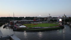 Mississippi Flooding Around Downtown Baseball Stadium Stock Footage
