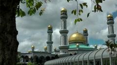 South Eeast Asia Borneo Island sultanate Brunei Jame'Asr Hassanil Bolkiah Mosque Stock Footage