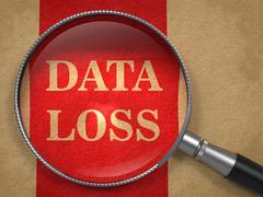 Data Loss inscription Through a Magnifying Glass Stock Illustration
