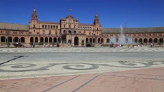 Seville, Spain - famous Plaza de Espana. Old landmark. Stock Footage