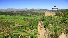 Stock Video Footage of View of the countryside from Ronda Spain
