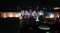 Maidan independence square from hotel ukraine at night Stock Footage