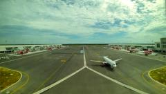 Aeroplanes taxiing at KLIA 2 terminal in Kuala Lumpur. 4K resolution time lapse. Stock Footage