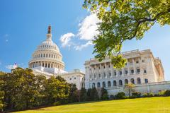 US Capitol and capitol hill - stock photo