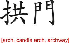 Chinese Sign for arch, candle arch, archway Stock Illustration
