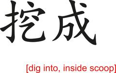 Chinese Sign for dig into, inside scoop Stock Illustration