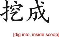 Stock Illustration of Chinese Sign for dig into, inside scoop