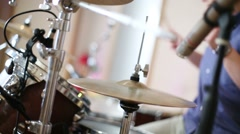 Hands of young man playing drums in modern recording studio Stock Footage