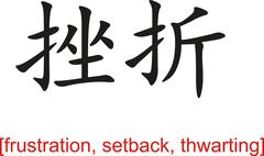 Chinese Sign for frustration, setback, thwarting - stock illustration