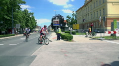 Two cyclists arriving to the finish line Stock Footage
