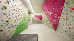 Special walls in climbing gym Bigwall on Savelovskaya. Stock Footage