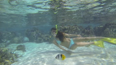 Woman snorkeling in clear blue waters over coral reef Stock Footage