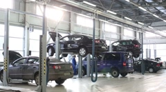 Spacious hall of workstation for cars repairing and workers Stock Footage
