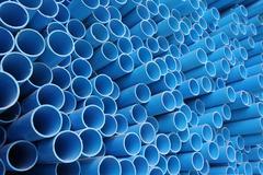 Blue pvc pipes - stock photo