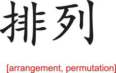 Chinese Sign for arrangement, permutation Stock Illustration